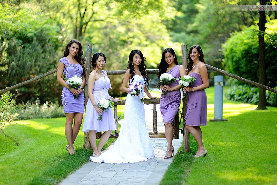 Before-Bride with bridesmaids in purple dresses retouched photos